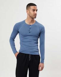 Pitkähihainen paita napeilla puuvillaa sininen