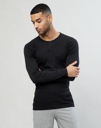 Pitkähihainen paita napeilla puuvillaa musta