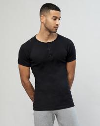 Premium Classic - lyhythihainen paita napeilla puuvillaa musta