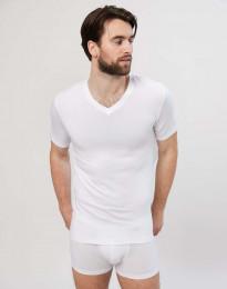 T-paita V-kaula-aukko puuvillaa valkoinen