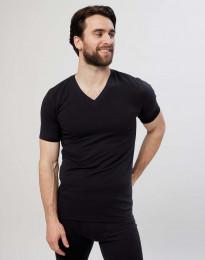 T-paita V-kaula-aukko puuvillaa musta