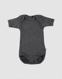 Lyhythihainen vauvan body - ekomerinovillaa tumma harmaameleerattu