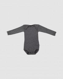 Pitkähihainen vauvan body - ekomerinovillaa tumma harmaameleerattu