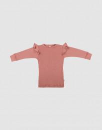 Vauvan merinovillainen röyhelöpaita - roosa