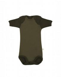 Lyhythihainen vauvan body ekomerinovillaa - vihreä
