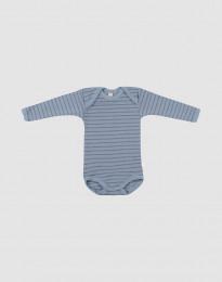 Vauvan pitkähihainen merinovillabody - siniraidallinen