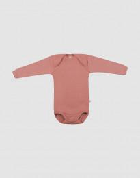 Vauvan pitkähihainen merinovillabody - roosa