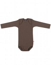 Ribbineulottu vauvan villabody punaruskea