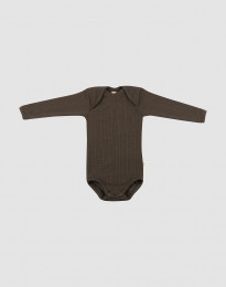 Vauvan ribbineulottu villabody - Tummanruskea