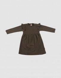 Ribbineulottu vauvan villamekko - Tummanruskea