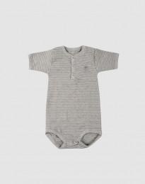 Lyhythihainen vauvan body ekopuuvillaa harmaa/raidallinen
