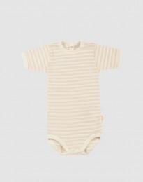 Lyhythihainen vauvan body ekologista villasilkkiä, beige/luonnonvärinen