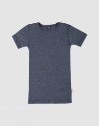 Lasten t-paita villasilkkiä meleerattu sininen