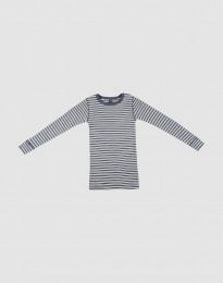 Lasten pitkähihainen paita ekologista villasilkkiä meleerattu sininen/luonnonvärinen