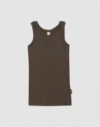 Lasten aluspaita leveää ribbineulosta - Tummanruskea