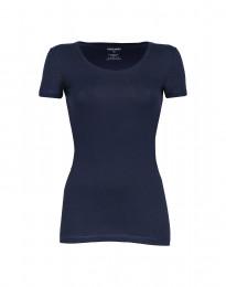 Miellyttävän pehmeä ja ohut t-paita puuvilla-elastaania laivastonsininen