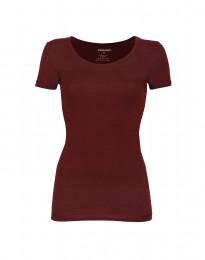Miellyttävän pehmeä ja ohut t-paita puuvilla-elastaania viininpunainen