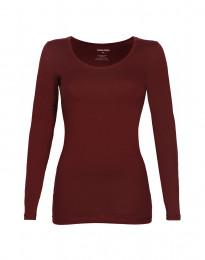 Pitkähihainen t-paita ekopuuvilla-elastaania viininpunainen