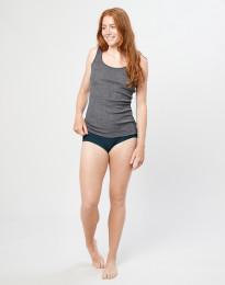 Naisten merinovillaiset midi-alushousut ribbineulosta Tumma petrooli