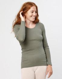 Naisten paita ribbineulosta oliivinvihreä