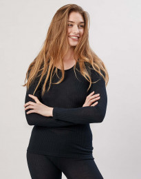 Naisten paita ribbineulosta musta