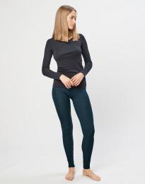 Naisten leggingsit ribbineulottua merinovillaa Tumma petrooli