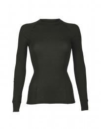 Naisten paita merinovillaa - korkea kaula-aukko tummanvihreä