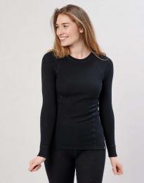 Naisten paita merinovillaa - korkea kaula-aukko musta