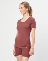 Naisten t-paita merinovillaa ruusunpunainen