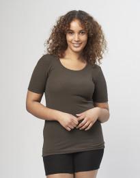 Naisten t-paita ribbineulosta tummanruskea