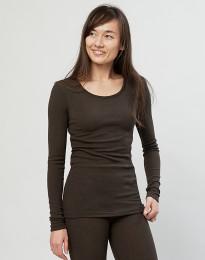 Pitkähihainen paita ribbineulottua merinovillaa tummanruskea