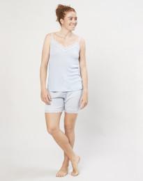 Naisten pyjamashortsit ekologista villasilkkiä vaaleansininen