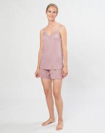 Naisten pyjamasshortsit ekologista villasilkkiä pastellinroosa