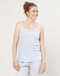 Naisten pyjamapaita, jossa pitsiä, ekologista villasilkkiä vaaleansininen