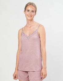 Naisten pyjamapaita, jossa pitsiä, ekologista villasilkkiä pastellinroosa