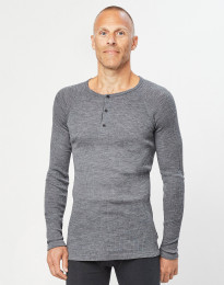 Miesten merinovillainen paita ribbineulosta tumma harmaameleerattu
