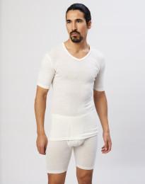 T-paita V-kaula-aukko puuvillaa luonnonvärinen