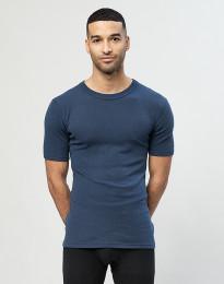 Miesten merinovillainen t-paita ribbineulosta Tumma petrooli