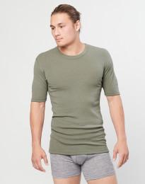 Miesten merinovillainen t-paita ribbineulosta oliivinvihreä