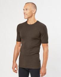 Miesten merinovillainen t-paita ribbineulosta Tummanruskea