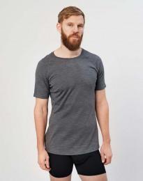 Miesten t-paita - ekologista, huippulaatuista merinovillaa tumma harmaameleerattu