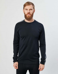 Miesten pitkähihainen paita ekologista ja huippulaatuista merinovillaa musta