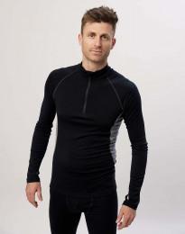 Pitkähihainen paita 1/3-vetoketjulla - ekologista, huippulaatuista merinovillaa musta