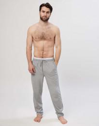 Miesten pyjamahousut puuvillaa harmaameleerattu