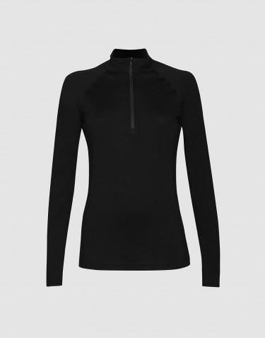 Naisten paita vetoketjulla - ekologista ja huippulaatuista merinovillaa musta