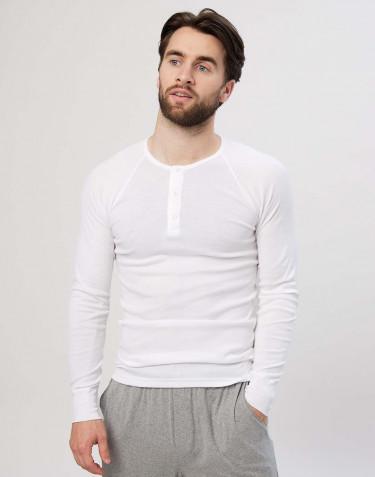 Pitkähihainen paita napeilla puuvillaa valkoinen