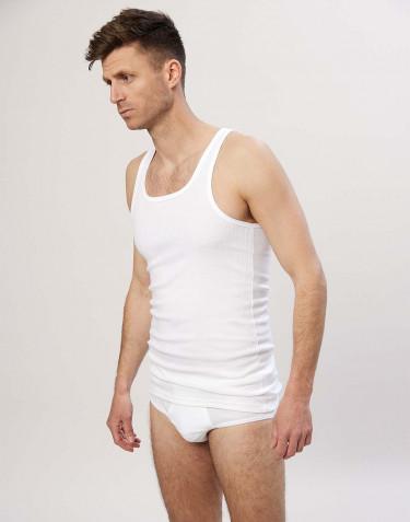Ribbineulottu miesten aluspaita puuvillaa valkoinen
