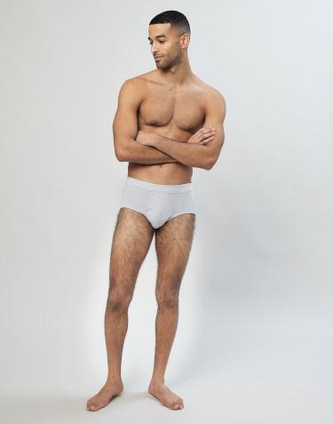 Klassiset, ribbineulotut miesten puuvilla-alushousut Harmaa