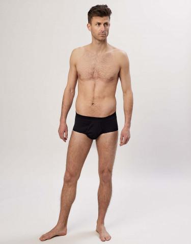 Klassiset, ribbineulotut miesten puuvilla-alushousut musta