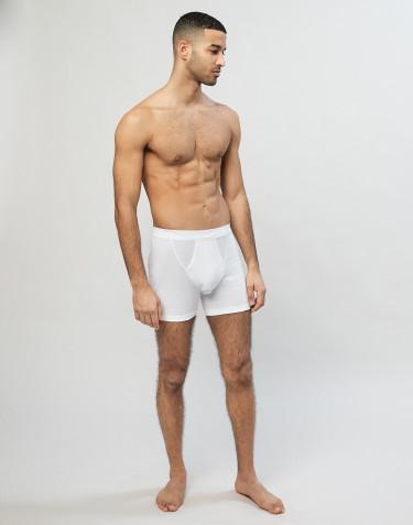 Ribbineulotut miesten puuvilla-alushousut sepaluksella valkoinen